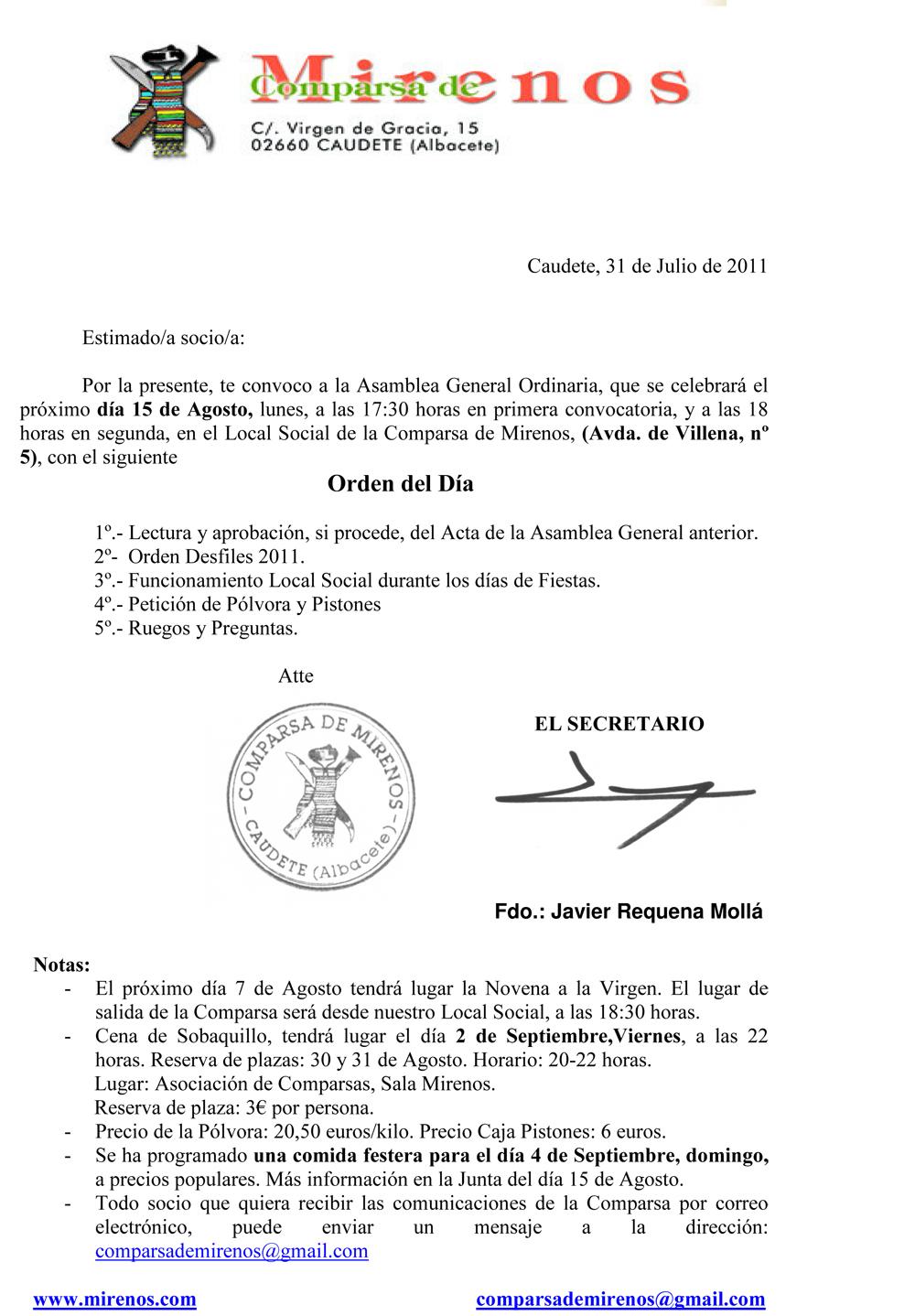Citacion asamblea general 15-08-2011