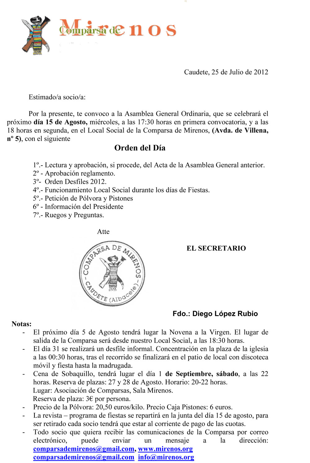 Asamblea General Ordinaria 15-08-2012
