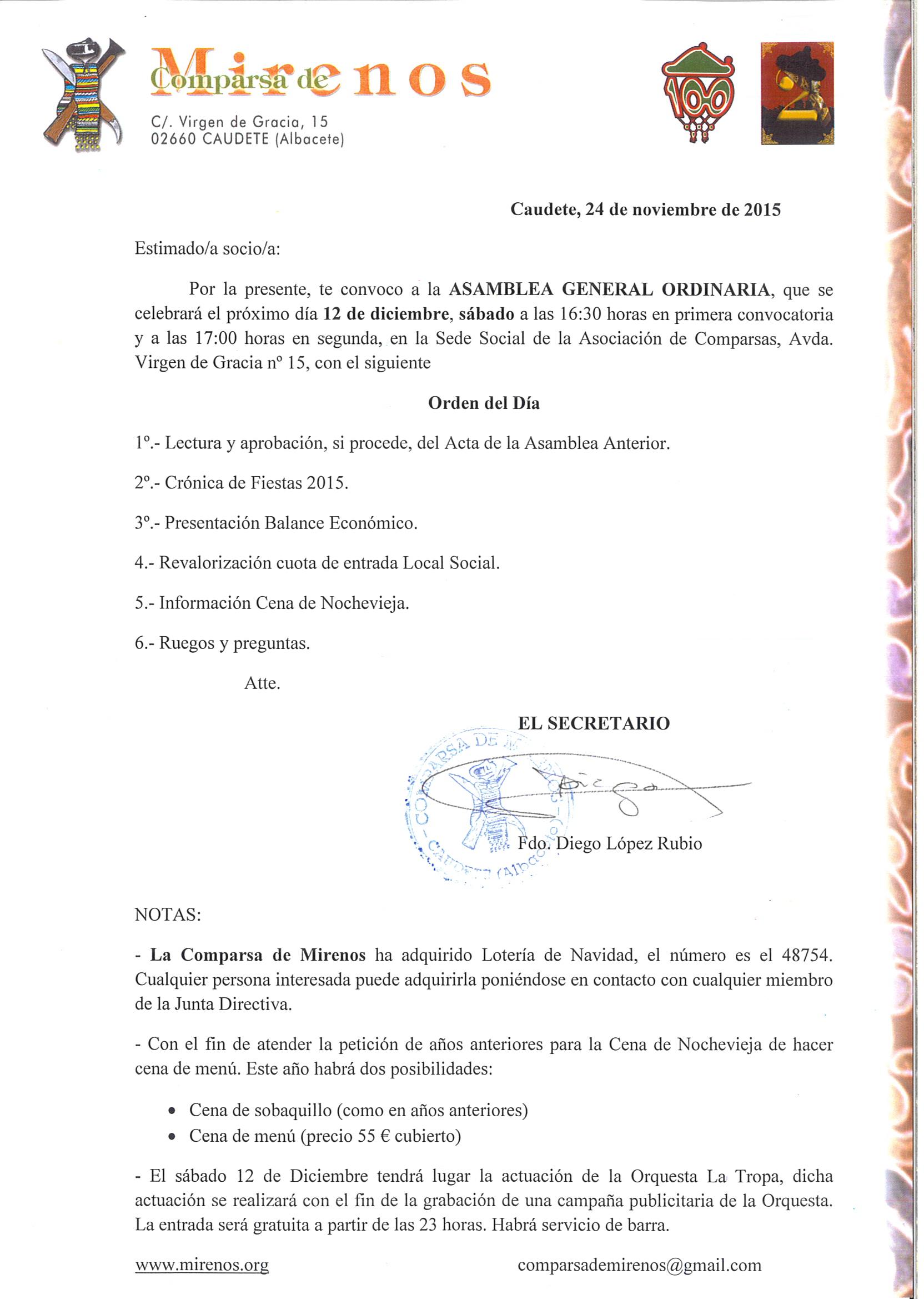 Asamblea General Ordinaria 12-12-15